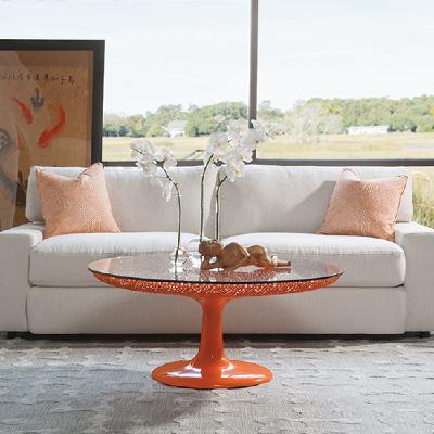 2073-943C Seascape橙色圆形玻璃桌面茶几
